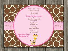 Giraffe Baby Shower Invitation - FREE thank you card included. $15.00, via Etsy.