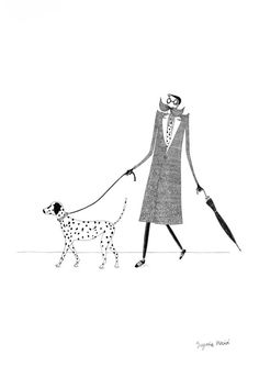 Illustration. Man and dog. Limited edition art print por MasiaShop
