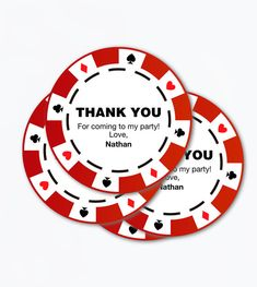 Poker chips printable favour tags for casino themed party. Thank you tags perfect to use in your thematic packaging, giftsbag, theme party favors or