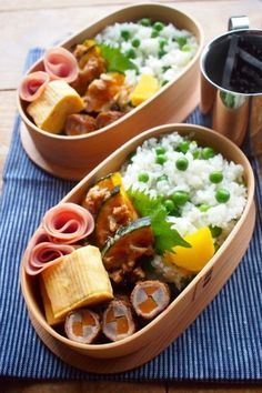 Pea Rice Bento Box, with sides of meat-veggie rolls, tamagoyaki, kabocha with cheese & walnuts, and ham roses Japanese Lunch Box, Japanese Food, Plate Lunch, Bento Box Lunch, Cute Food, Asian Recipes, Food And Drink, Cooking Recipes, Snacks