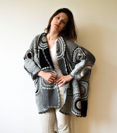 Plus Size Women's Cardigan Sweater with Crochet Circles - MADE TO ORDER