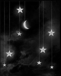 B&W Stars & Moon