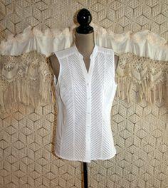 Large Sleeveless Button Up White Cotton Linen by MagpieandOtis