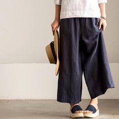 Linen Width Leg Pants K7582A