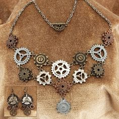 Multi Gear Steampunk Necklace & Earrings Set--Pearson's Renaissance Shoppe