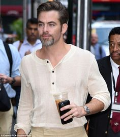 His version of work: Chris Pine, 35, continued to promote the fan-obsessed Star Trek Beyon...