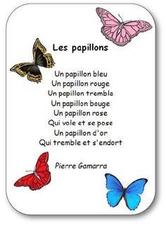 Comptine pour apprendre les couleurs : Les papillons en version imprimable illustrée. Retrouvez d'autres chansons, comptines et poésies.