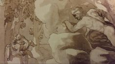 ACIS AND GALATEA SURPRISED BY POLYPHEMUS. 1623. pencil, pen brown ink and wash on paper. 18,2 × 32,3 cm. Acis And Galatea, Nicolas Poussin, Roman, Pencil, Ink, Paper, Painting, Painting Art, Paintings
