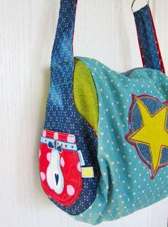 farbenmix-taschenspieler-3-zylindertasche-tasche-zum-umhaengen-selber-machen-stoffmix Stitches, Artsy, Reusable Tote Bags, Inspiration, Fashion, Purses, Bags, Tuto Sac, Accessories