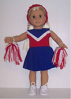 """Cheerleading Set w/Pom Poms & Schrunchie made for 18"""" American Girl Doll Clothes #DollClothes"""