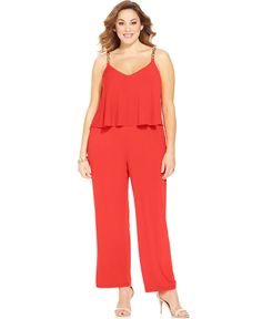 Spense Plus Size Chain-Trim Popover Jumpsuit - Jumpsuits & Rompers - Plus Sizes - Macy's