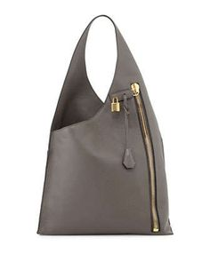 Alix+Zip+Hobo+Bag,+Dark+Gray+by+Tom+Ford+at+Neiman+Marcus.