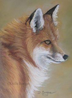 Wildlife Art Red Fox Pastel by Della Burgus, painting by artist Art Helping Animals