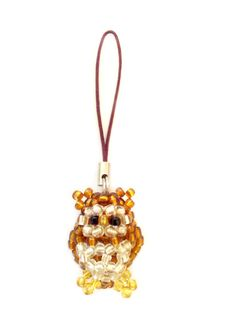 Delicately handmade 3D Beaded Owl charm - Very cute!  Made from tiny glass seed beads, it can be used as a display piece/ornament, mobile (cell) phone/handbag (purse) charm, pendant, keyring,...
