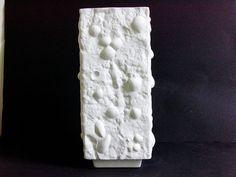 Vintage matte white bisque relief vase Germany