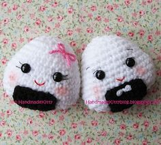 HandmadeKitty: FREE Onigiri Couple Amigurumi Crochet pattern by HandmadeKitty