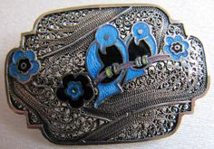 Vintage Silver Filigree and Enamel Brooch by HDOVintage on Etsy