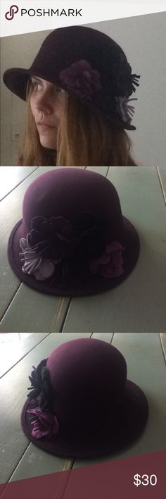 Purple Wool Bucket Hat With Flower Accents Purple Wool Bucket Hat With Flower Accents Accessories Hats