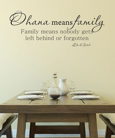Well, this is such a sweet sentiment, goll-y!!    Take a look at this Black 'Ohana Means Family' Wall Decal on zulily today!