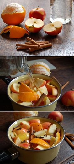 The Perfect Fall Potpourri | Here is what you will need:- the peel of one orange - one cut up apple - 2 large cinnamon sticks - 1 tablespoon of cloves - 1 tablespoon of vanilla extract - 1 tablespoon of almond extract - 1.5 cups of water plus plenty more for refill