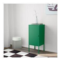 IKEA - LIXHULT, キャビネット, メタル/グリーン, , 充電器やカギ、財布などの小さなアイテムの収納も、ハンドバッグやおもちゃなどのかさばるアイテムの収納もおまかせ。キャビネットのサイズは3つあるので、用途に合わせて選べます重要な書類や手紙、新聞などをほかのものと分けて扉の背面に収納すれば、必要なときにすぐ取り出せます設置スペースに合わせて、扉は右開きにも左開きにも取り付けられます付属の脚を取り付けて、またはそのまま床に置いて使えます