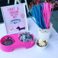 Pet Collar Making Station from a Birthday Puppy Paw-ty on Kara's Party Ideas. - The Best Cat Party Ideas Puppy Birthday Parties, Cat Birthday, Animal Birthday, 5th Birthday Party Ideas, Ideas Party, Dog Party Themes, Birthday Ideas For Dogs, Puppy Party Games, Girl Paw Patrol Birthday