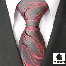 YIBEI Ties Border Black With Red Stripes Woven Necktie Fashion Tie for men shirt