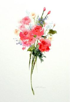 Sweetheart Bouquet (Roses) - watercolor painting by Morten E. Solberg