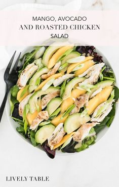 A simple and delicious mango avocado and roasted chicken salad with a honey dijon lemon vinaigrette is a great lunch or light summer dinner.It's easy healthy and can even be made with rotisserie chicken! Gluten Free Recipes For Lunch, Healthy Summer Recipes, Lunch Recipes, Avocado Recipes, Vegetarian Recipes, Dinner Recipes, Quick Chicken Curry, Healthy Chicken Dinner, Roasted Chicken