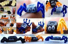 Enge spin van eierdoos en pijpenragers. Diy For Kids, Nerf, Toys, Crafts, Schmidt, Annie, School, Crafting, Activity Toys