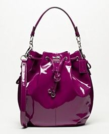 Coach pink patent leather drawstring handbag. I have this in grey love it in pink/purple also