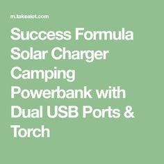 Success Formula Solar Charger Camping Powerbank with Dual USB Ports & Torch