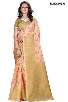 Gold Colour Cotton Silk Party Wear Printed Saree Buy Sarees