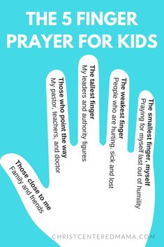 The 5 finger prayer for kids - creative prayer ideas for kids Christ Centered Mama Christian Praying Ideas Sunday School Interactive Prayer Sunday School Crafts For Kids, Bible School Crafts, Sunday School Activities, Bible Activities, Church Activities, Kids Sunday School Lessons, Sunday School Stories, Sunday School Classroom, Summer Activities