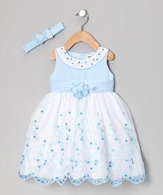 Love this Blue Floral Yoke Dress & Headband - Infant by Shanil on #zulily! #zulilyfinds
