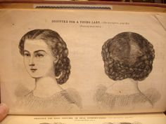 Godey's 1861. This is NOT french-braided---Instructions: Divide your hair down the center, then make a vertical part right behind the ears to divide front and back hair. Make a three-strand braid in each of the four quadrants. Criss-cross the two back braids, and pin. Loop the front braids over the back braids, and cross them under the pinned back braids. Pin to secure.