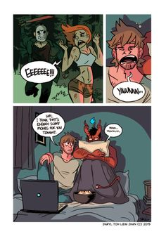 """024 - Scary Movies """"It's a Friday the 13th update special! Poor Toby, for a big scary demon, he really can't handle horror movies."""" / Written and illustrated by tohdaryl. #tohdaryl #tobiasthedemonandguy"""