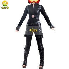 Halloween Costumes The Avengers Black Widow Cosplay Costume Captain American 2 Natasha Romanoff Superhero Women Black Jumpsuit