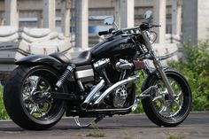 Customized Harley-Davidson Street Bob with Gothic wheels. Built by Thunderbike Customs Germany