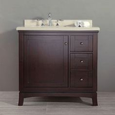 OVE Decors Valega 36-inch Single Bowl Bathroom Vanity with Marble Top (Valega 36), Brown Espresso, Size Single Vanities