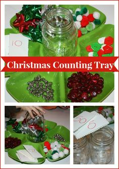 Christmas Math Activity Tray Counting - could do this for any season/holiday. Vary the materials.