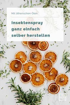Keine Lust auf die Chemiekeule in Autan & Co.? Dann stelle dir mit ätherischen Ölen ganz einfach dein eigenes Insektenspray gegen Mücken her - so geht's.  Insektenspray selber machen | Insektenspray DIY | Insektenspray gegen Mücken | Insektenspray ohne Chemie | Insektenspray Citronella | Teebaumöl | Insektenspray Ersatz | Insektenspray pflanzlich Naturkosmetik | Nachhaltigkeit | Ätherische Öle | Zero Waste | Sich gutes tun Citronella, Orange, Fruit, Diy, Beauty, Young Living, Zero, Homemade Cosmetics, Beauty Products