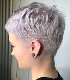 Super Short Hair, Short Thin Hair, Short Grey Hair, Short Hair Styles, Black Hair, Short Blonde, Plait Styles, Very Short Pixie Cuts, Curly Short