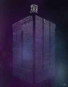 A Doctor Who poster print featuring the shape of the Doctor's TARDIS, formed with great lines of dialogue from series featuring Doctors nine, ten, and eleven.