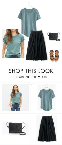"""""""JCrew Petite Midi Skirt in cotton clip-dot, Madewell Whisper Tee warm charcoal steely green"""" by justvisiting ❤ liked on Polyvore featuring Madewell and J.Crew"""