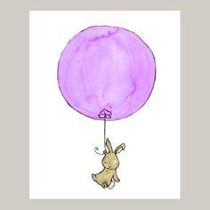 Nursery Art Print Bunny Balloon lavender 5x7. $10.00, via Etsy.