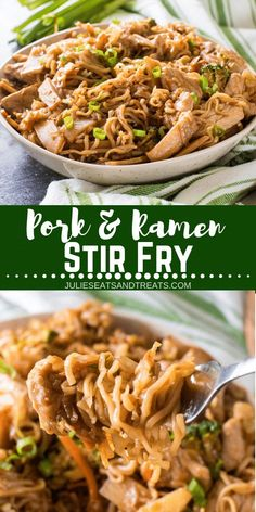 This quick and easy dinner recipe features your favorite Ramen Noodles! A fun and delicious twist on Stir Fry with Pork and Ramen Stir Fry. This will be your family's new, favorite dinner recipe! #julieseatsandtreats #ramen #stirfry #pork #dinner #recipe #dinnerrecipe #easyrecipe via @julieseats