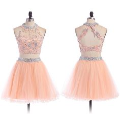 Two Piece Prom Dress with Lace Appliques, High