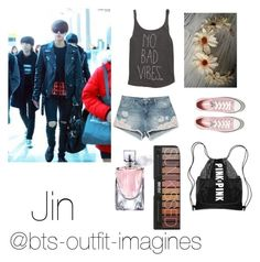 """""""Concert with Jin"""" by bts-outfit-imagines ❤ liked on Polyvore featuring Billabong, Zara, Converse, Lancôme and Victoria's Secret"""