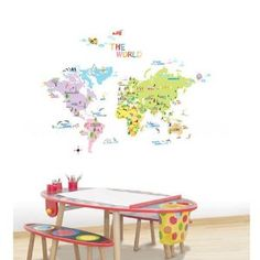 Easy Instant Decoration Wall Sticker Decal Colorful World Map